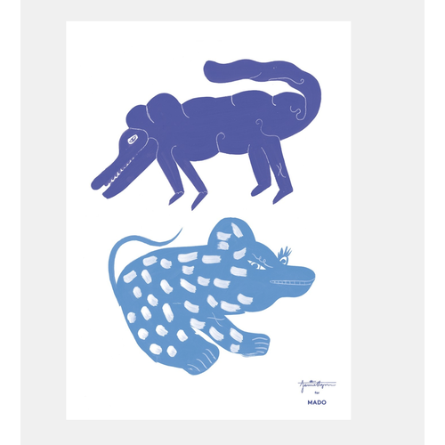 Paper Collective Print Two Creatures blue 50x70