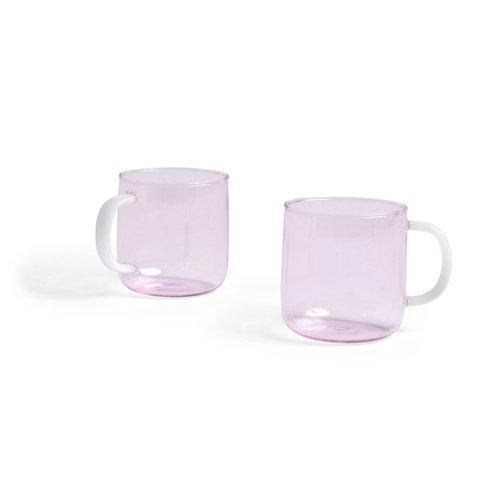 HAY Set van 2 glazen roze mokken