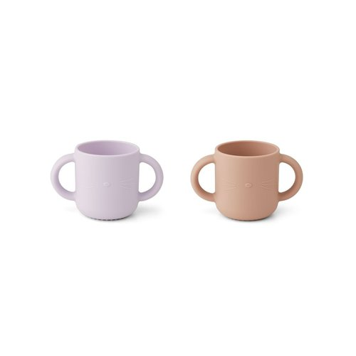 Liewood Cup set  Gene cat lavendel /rose 2 pack