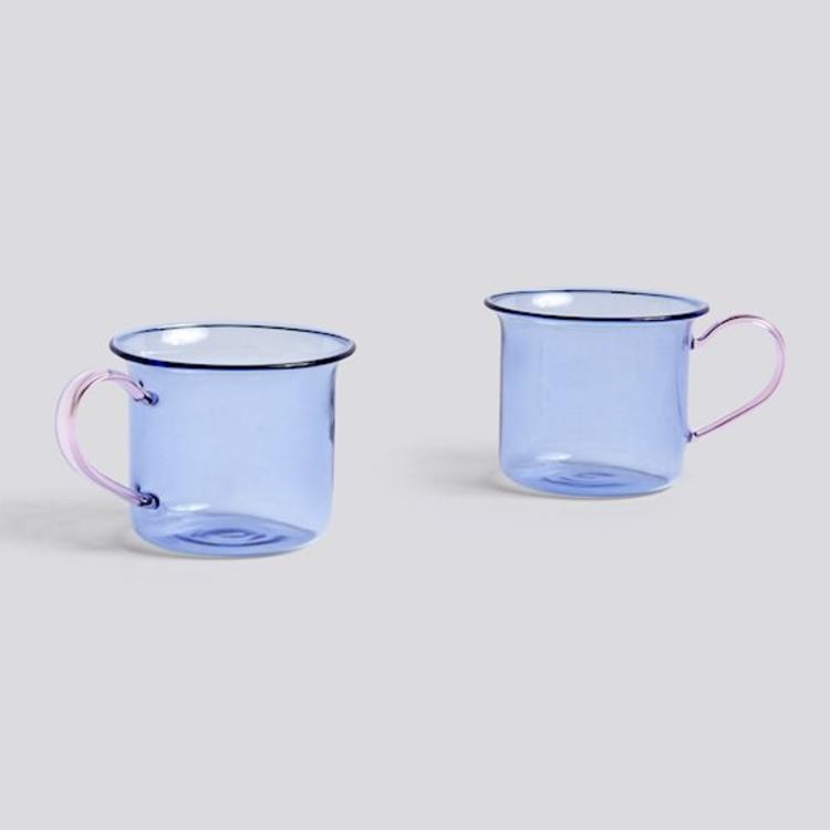 HAY HAY Set 2 glass mugs  blue/pink