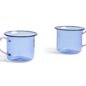 HAY Set 2 glass mugs  blue/pink
