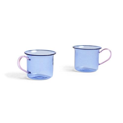 HAY Set 2 glazen blauw/ roze