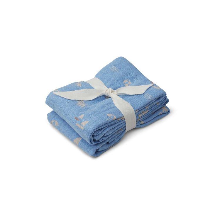 Liewood Liewood Lewis Muslin Cloth 2 Pack - Seaside sky blue