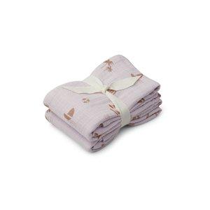 Liewood Lewis Muslin Cloth 2 Pack - Seaside light lavender