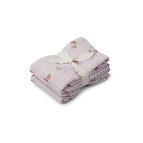 Liewood Hydrofiel doek Lewis lavendel 2-pack