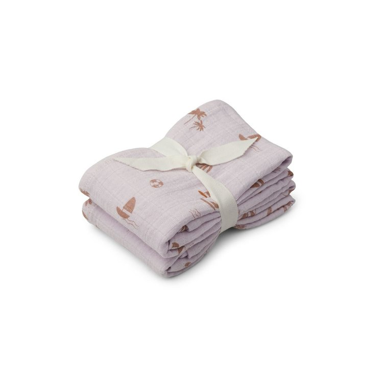 Liewood Liewood Lewis Muslin Cloth 2 Pack - Seaside light lavender