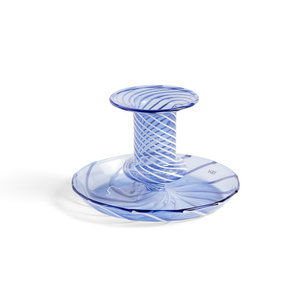 HAY Flare kandelaar Stripe blauw