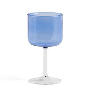 HAY Wijnglas set van 2  Tint blauw helder