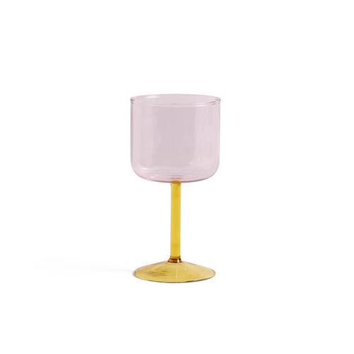 HAY Wijnglas Tint set van 2 roze/geel