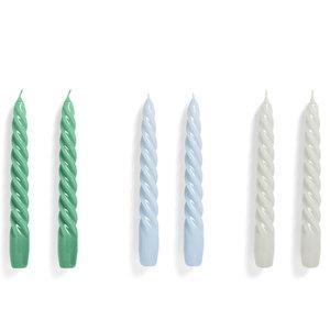HAY Set of 6 candles Twist green blue grey