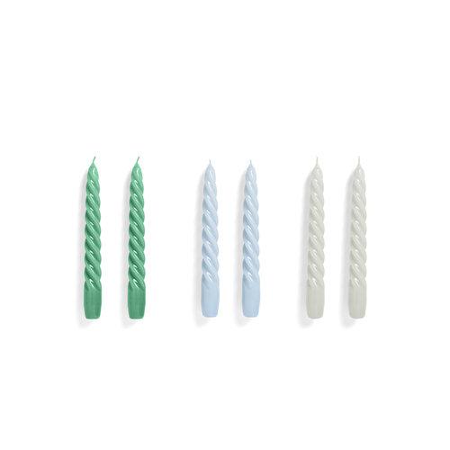 HAY Set 6 kaars Twist groen blauw grijs