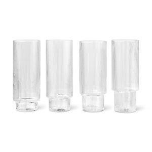 ferm LIVING Set of 4 Ripple long drink glasses clear