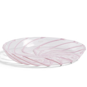 HAY Set of 2 Spin saucer clear pink stripe