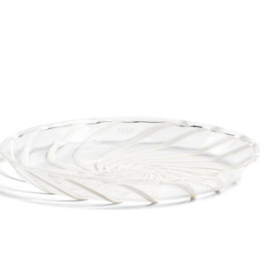 HAY Set of 2 Spin saucer clear white stripe