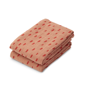 Liewood Muslin cloth Lewis 2-pack graphic roze