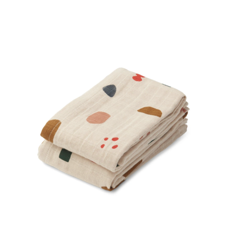 Liewood Muslin cloth Lewis 2-pack geometric sand