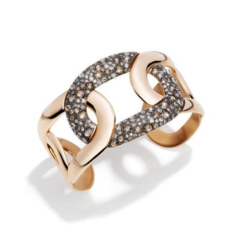Pomellato Tango armband in 18 karaat roségoud met bruine diamant Leon Martens Juwelier