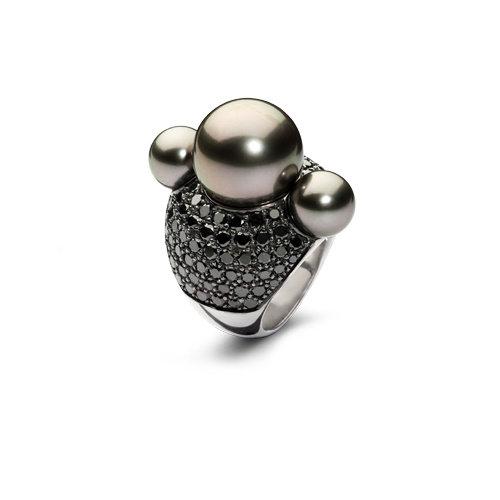 Leon Martens Shock ring in witgoud met Tahiti-parels en zwarte diamant Leon Martens Juwelier