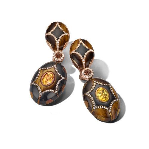 Chantecler Maiolica oorhangers in 18 karaat roségoud met gekleurde edelstenen en diamant Leon Martens Juwelier