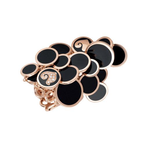 Chantecler Paillette ring in roségoud, zwart geëmailleerd met diamant Leon Martens Juwelier