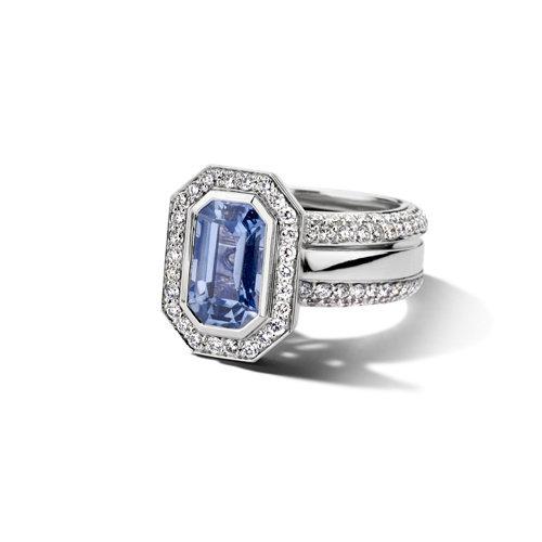Leon Martens Ring in 18 karaat witgoud met blauwe saffier en diamant Leon Martens Juwelier