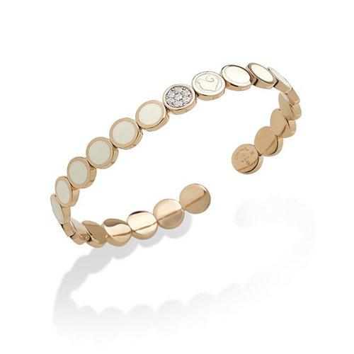 Chantecler Paillette armband in roségoud, wit geëmailleerd met diamant Leon Martens Juwelier