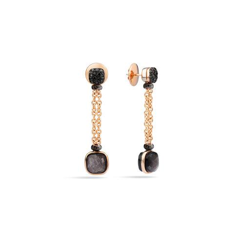 Pomellato Nudo oorhangers in 18 karaat roségoud met zwarte diamant en obsidiaan Leon Martens Juwelier