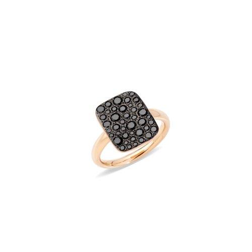 Pomellato Sabbia ring in roségoud met zwarte diamant Leon Martens Juwelier