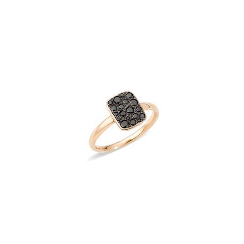 Pomellato Sabbia ring in 18 karaat roségoud met zwarte diamant Leon Martens Juwelier