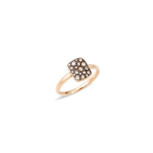 Pomellato Sabbia ring in 18 karaat roségoud met bruine diamant Leon Martens Juwelier
