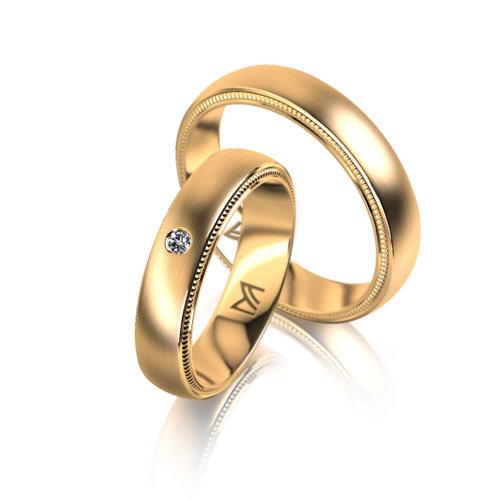 Meister Trouwringen in goud met diamant Leon Martens Juwelier