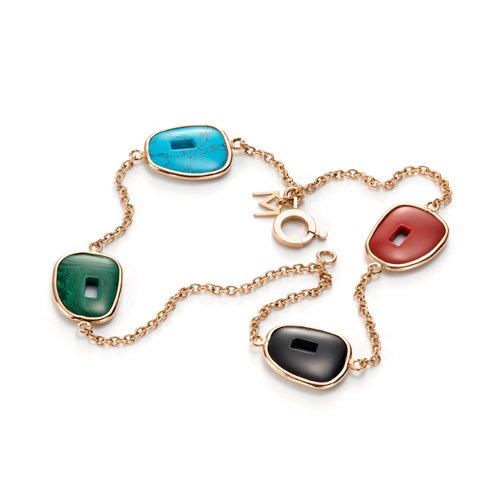 Mattioli Puzzle armband in roségoud met koraal, onyx, turquoise en malachiet Leon Martens Juwelier
