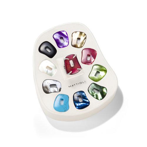 Mattioli Puzzle ring in witgoud met diamant en kleurstenen Leon Martens Juwelier
