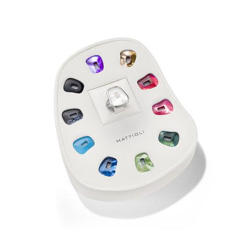 Mattioli Puzzle ring in witgoud met kleurstenen Leon Martens Juwelier