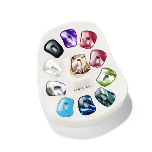 Mattioli Puzzle ring in roségoud met kleurstenen Leon Martens Juwelier