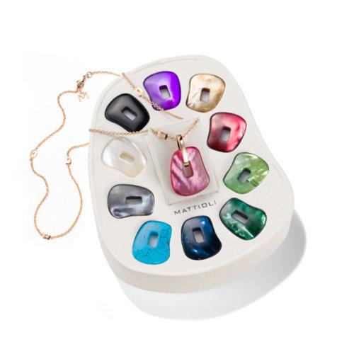 Mattioli Puzzle collier in roségoud met kleurstenen Leon Martens Juwelier