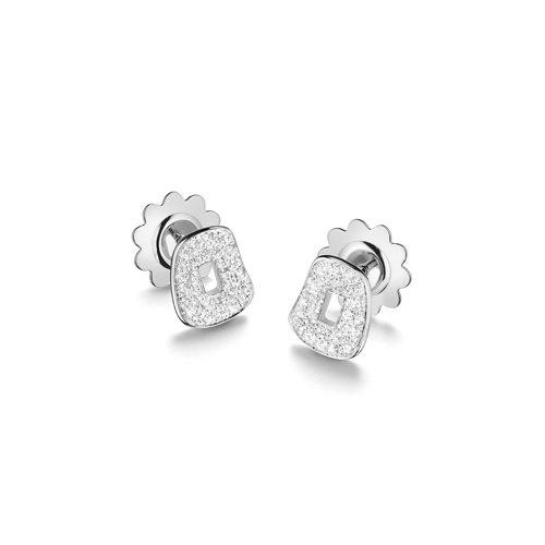 Mattioli Puzzle oorstekers in witgoud met diamant Leon Martens Juwelier