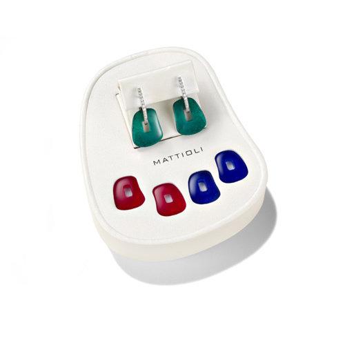 Mattioli Puzzle oorhangers in witgoud met kleurstenen en diamant Leon Martens Juwelier