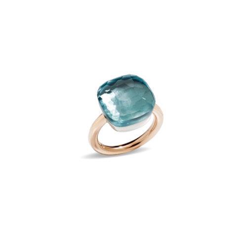 Pomellato Nudo Assoluto ring in rosé- en witgoud met blauwe topaas Leon Martens Juwelier