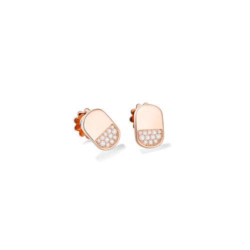 Mattioli Aruba oorstekers in roségoud met diamant Leon Martens Juwelier