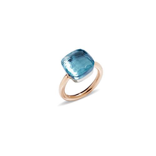 Pomellato Nudo Maxi ring in rosé- en witgoud met blauwe topaas Leon Martens Juwelier