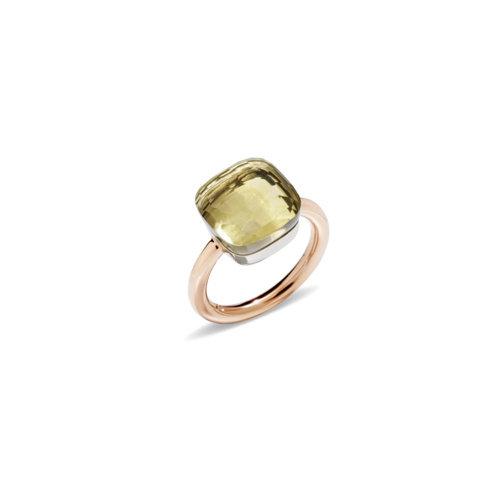 Pomellato Nudo Maxi ring in rosé- en witgoud met lemonkwarts Leon Martens Juwelier