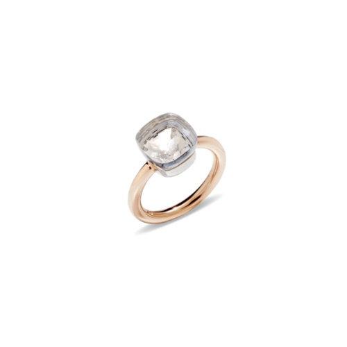 Pomellato Nudo Classic ring in rosé- en witgoud met witte topaas Leon Martens Juwelier
