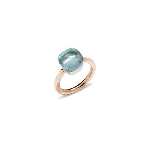 Pomellato Nudo Classic ring in rosé- en witgoud met blauwe topaas Leon Martens Juwelier