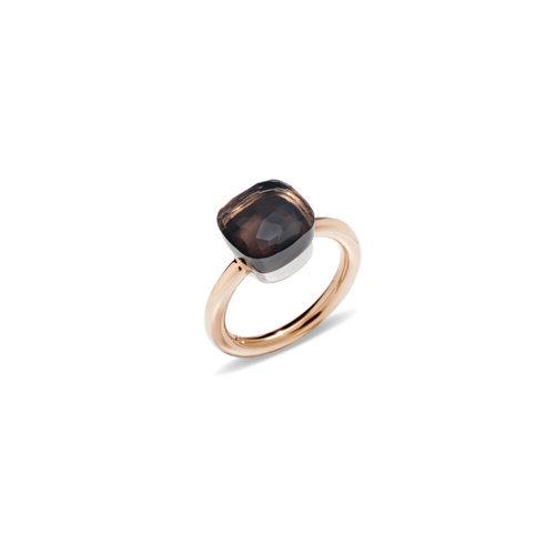 Pomellato Nudo Classic ring in rosé- en witgoud met rookkwarts Leon Martens Juwelier