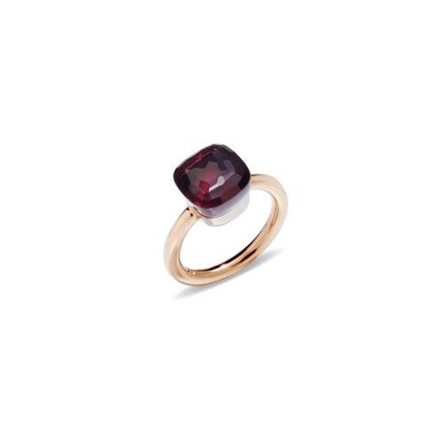 Pomellato Nudo Classic ring in rosé- en witgoud met granaat Leon Martens Juwelier