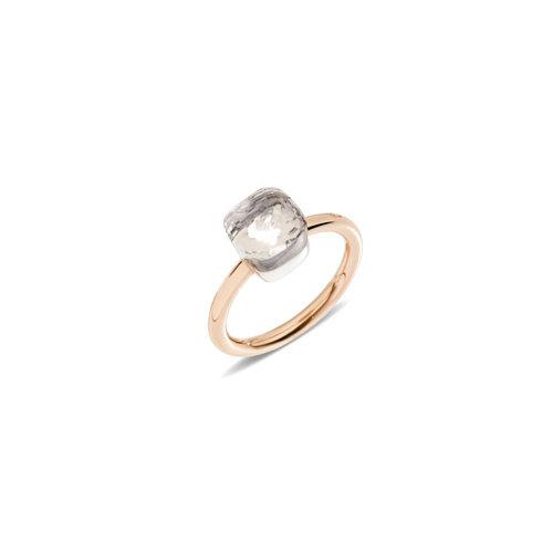 Pomellato Nudo Petit ring in rosé- en witgoud met witte topaas Leon Martens Juwelier