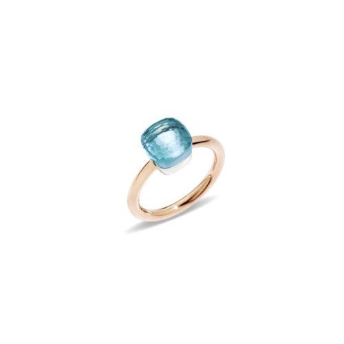 Pomellato Nudo Petit ring in rosé- en witgoud met blauwe topaas Leon Martens Juwelier
