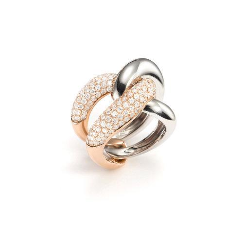 Mattioli Yin Yang ring in rosé- en witgoud met diamant Leon Martens Juwelier