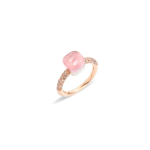 Pomellato Nudo Petit ring in rosé- en witgoud met rozenkwarts, chalcedoon en bruine diamant Leon Martens Juwelier